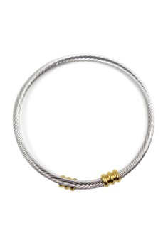 Tiny Cable Wire Golden Knobbed End Cuff Bracelet 2000080