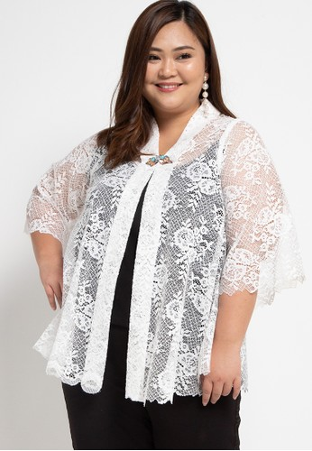 LUIRE by Raden Sirait white Plus Size FM Cape Kartini Pendek LDB E7B08AACD3EE25GS_1