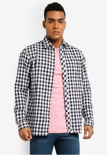 Jack & Jones 白色 休閒格紋長袖襯衫 FE82EAA7099551GS_1