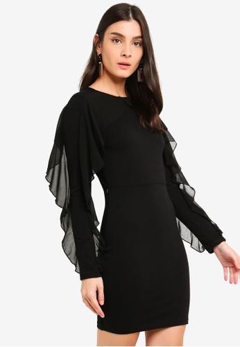 OVS black Tulle Flounce Dress 7BF62AA890BF6FGS_1