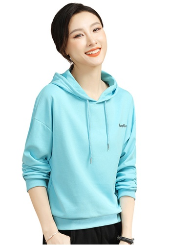 A-IN GIRLS blue Fashion Loose Hooded Sweater C45BBAA19D55C3GS_1