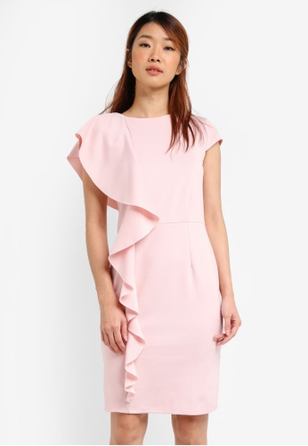 Dorothy Perkins pink Petite Frill Scuba Dress DO816AA0SRDTMY_1