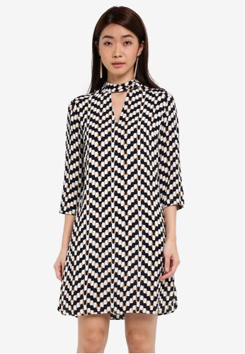 ZALORA multi High Neck Detail Shift Dress 5627BAA4A51913GS_1
