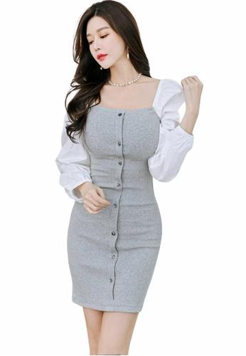 Crystal Korea Fashion grey Korean-made new style puff sleeve slim stretch dress A4BBDAA4E9D3DFGS_1