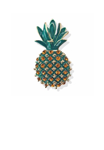 Glamorousky yellow Fashion and Elegant Plated Gold Pineapple Brooch with Cubic Zirconia 3CB5BAC4288984GS_1