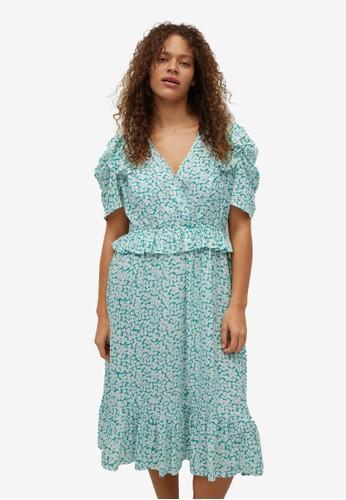 Violeta by MANGO green Plus Size Ruffle Printed Dress 3106CAA89A21D0GS_1
