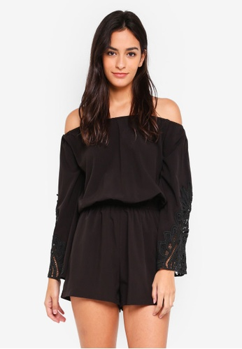 Something Borrowed black Lace Panel Off Shoulder Romper 88095AA1AC4C3CGS_1