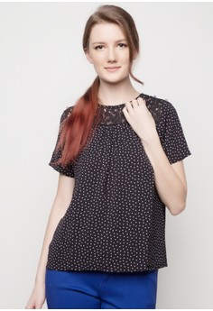 Printed Round Neck Top with Lace Yoke