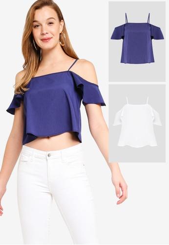 6e489558311813 Shop ZALORA BASICS 2 pack Basic Cold Shoulder Crop Top Online on ZALORA  Philippines