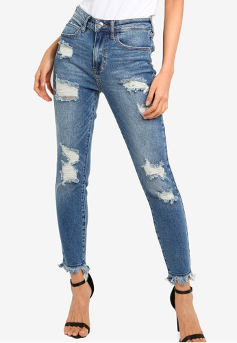 Guess blue Guess 1981 Distressed Skinny Jeans 91CCBAA05E77C6GS_1