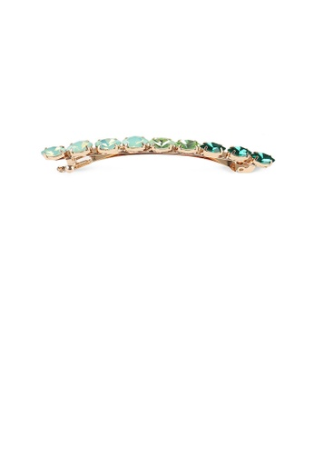 Glamorousky green Simple and Fashion Plated Gold Round Green Cubic Zirconia Geometric Hair Clip 876A0AC5A99ACEGS_1