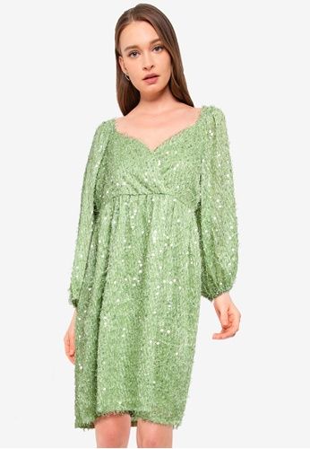 Vero Moda green Flirty 7/8 Short Dress 4EEBAAA894D1D4GS_1
