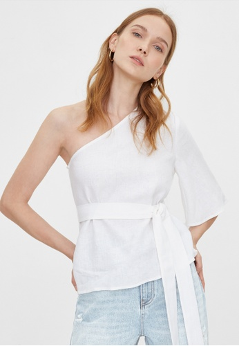 Pomelo white Purpose Flared One Shoulder Top - White 29248AA3EB13ABGS_1