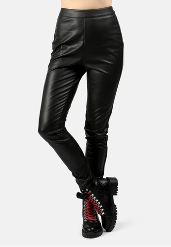 London Rag black Striped Skinny Pants With Tapered Side-Line 81CD0AA80ABB61GS_1