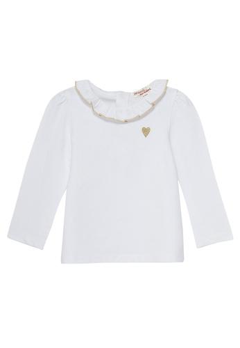 Du Pareil Au Même (DPAM) white Embroidered Heart Blouse C8950KAA26A6BBGS_1