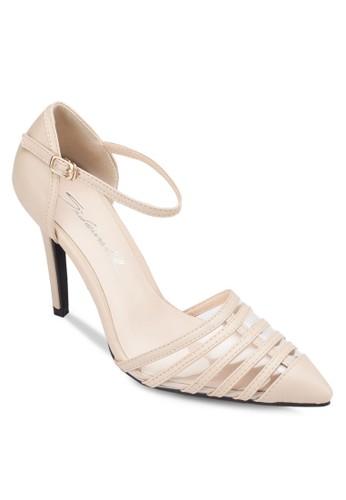 多帶側空繞踝高跟鞋, 女鞋, 厚底高esprit 香港跟鞋