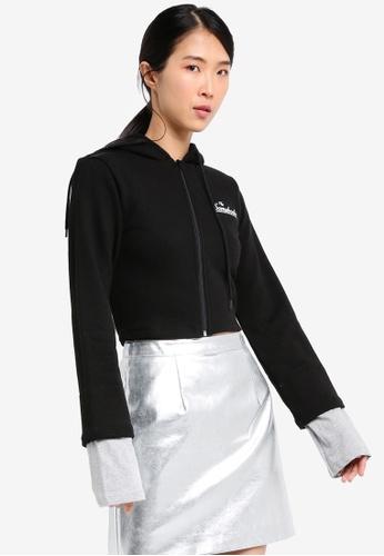 Stylenanda black Extended Sleeve Cropped Zip-Up Hoodie ST343AA0SXK8MY_1