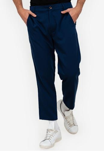 ZALORA BASICS navy Crop Vertical Stripe Pants 04372AAB9AB6C0GS_1