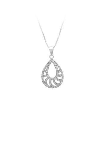 Glamorousky silver 925 Sterling Silver Water-drop-shaped Pendant with White Cubic Zircon and Necklace DF9F5ACC840FBFGS_1