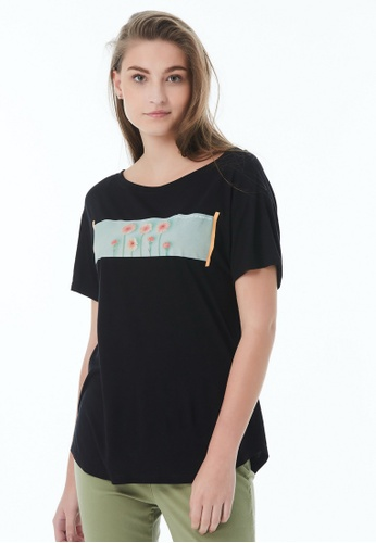 United Colors of Benetton black Printed T-shirt 2F8AAAADF20964GS_1