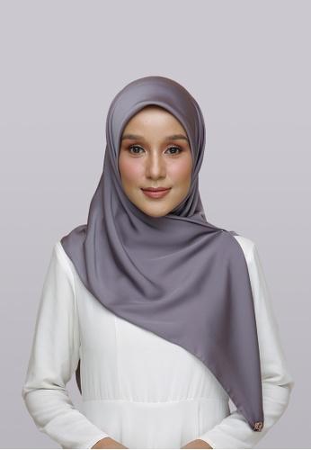Lady Qomash grey Batcha Eyelash Square Scarf in Spruced BD2F1AAF1B27BCGS_1