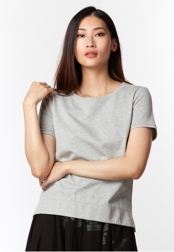 What To Wear grey Basic Cotton Top in Grey C7065AAE44500CGS_1