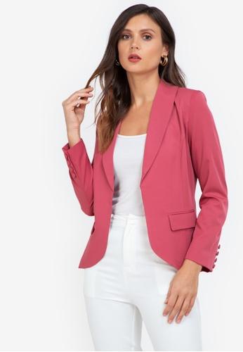 ZALORA WORK pink Long Blazer With Buttons 9FFC6AAEA4C48FGS_1