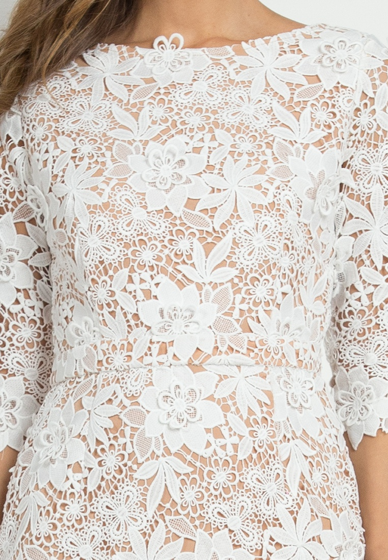 NOBASIC Crochet Dress white Sheath White XfwtUxvw