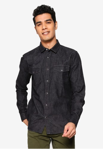 !Solid black Saxon Long Sleeved Denim Shirt D1212AA9301630GS_1