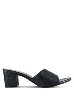 cf6f8ce2a22 Spiffy black Glitter Mule Block Heels SP352SH0SRY2MY 1