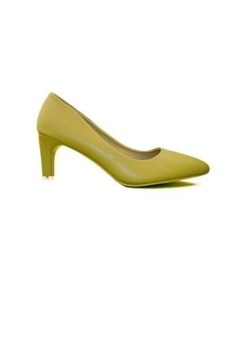 SHINE beige Point Toe Leatherate Pumps SH554SH0G2YUSG_1