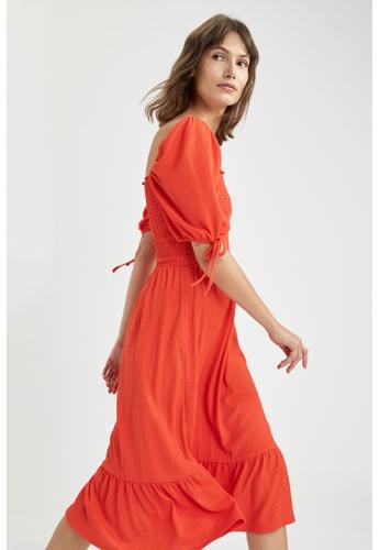 DeFacto red Short Sleeve Midi Dress E4A8CAA7A4CDF1GS_1