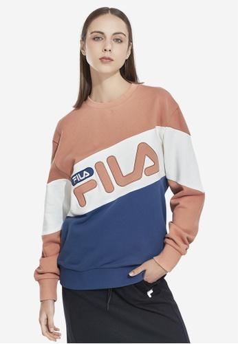 FILA beige Korea Collection Unisex FILA Logo Color Blocks Cotton Sweatshirts 31CBAAAA652DC5GS_1