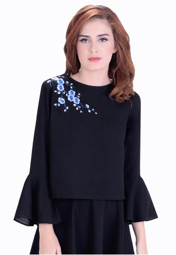 Emionette black Zoe Bell Sleeve Top EM909AA36ZPBID_1