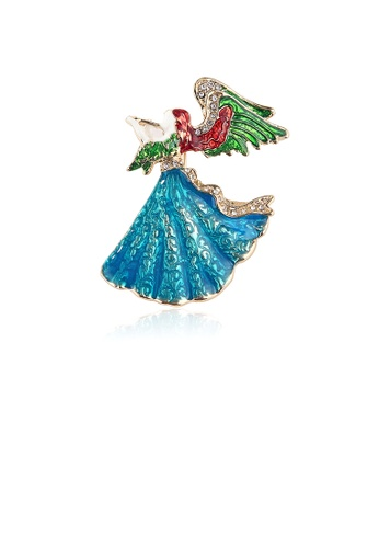 Glamorousky white Fashion Creative Plated Gold Enamel Angel Girl Brooch with Cubic Zirconia E973FAC4370497GS_1