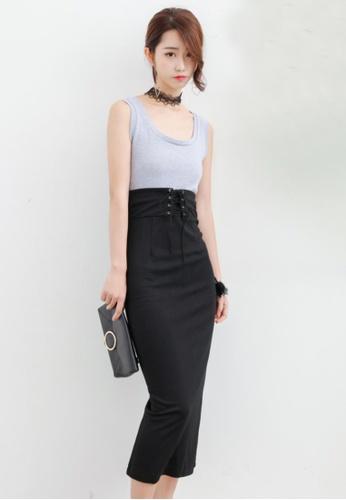 Shopsfashion black and grey Shoe Lace Midi Dress 52F63AA7B0815DGS_1