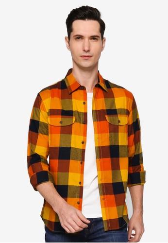 Banana Republic orange Untucked Slim-Fit Flannel Shirt 5A66EAA41A0DA5GS_1