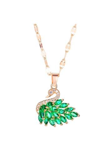 YOUNIQ green YOUNIQ SVANE Swan 18K Rosegold Titanium Steel Necklace with Green Cubic Zirconia Stone D2060AC1AE4120GS_1
