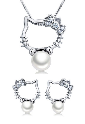 YOUNIQ silver YOUNIQ Kitty Pearl 925 Sterling Necklace Pendant with Cubic Zirconia & Earrings Set (Silver) YO999AC48NPJMY_1
