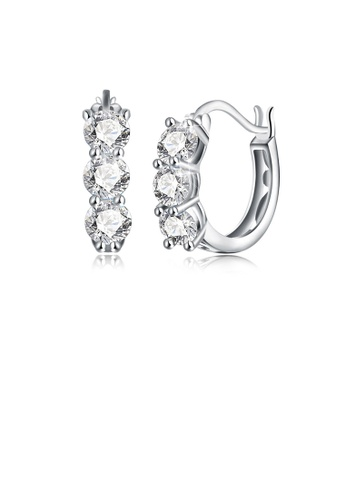 Glamorousky white 925 Sterling Silver Simple Elegant Exquisite Circle Earrings and Ear Studs with White Cubic Zircon B9DA5AC7852D73GS_1