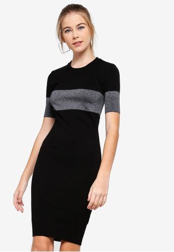 Something Borrowed black Colorblock Lurex Midi Dress 8CC87AAA60E523GS_1