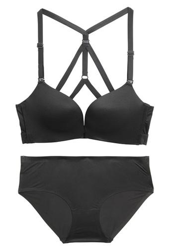 ZITIQUE black Simple Non-steel Ring Seamless Beautiful Back Bra Set-Black 11D2AUS197E7D1GS_1