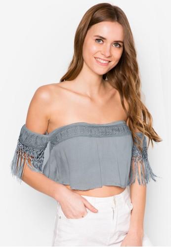 Rebekah 刺繡流蘇露肩短版上衣,esprit 尺寸 服飾, 服飾