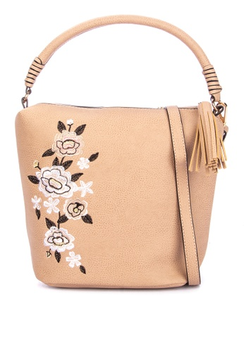61464e5319 Shop Dorothy Perkins Neutral Embroidered Bucket Bag Online on ZALORA ...