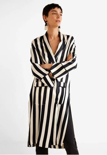 Mango black Stripes Satin Kaftan C0F2BAA74670A0GS_1