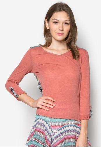 Tiramisu 背部印花尖沙咀 esprit拼接設計TEE, 服飾, 服飾