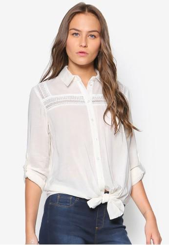 White Bib Tie Front Shirt,zalora是哪裡的牌子 服飾, 服飾