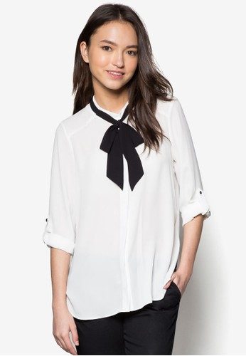 Petite 繫zalora開箱帶領結長袖上衣, 服飾, 上衣