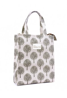 Lunch Bag with Zipper - White Leaf