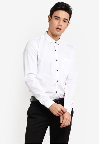 Topman 白色 White Button Down Shirt TO413AA06HLDMY_1